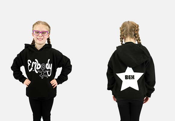 Embody Adult Black Hoodie with White Glitter