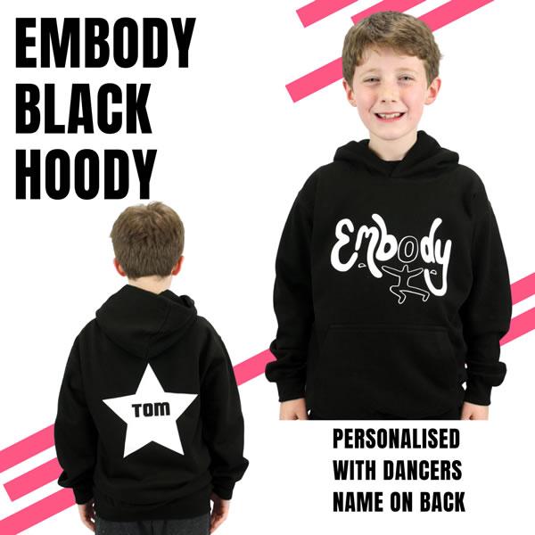 Embody Hoodie - Black with White Vinyl